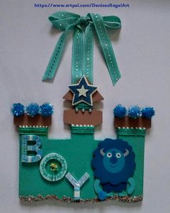 Boy Wall Hanging Turquoise Castle
