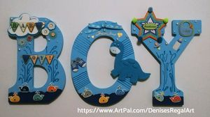 Baby Boy Wall Hanging Letters - Denise's Regal Art