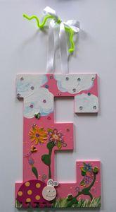 """Girl's Wall Hanging Decor """"E"""" - Denise's Regal Art"""