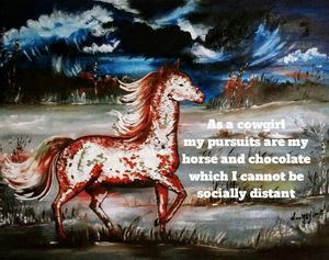 Horse with Social Distancing Saying