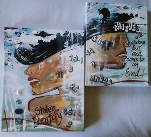 Two Canvas Painting  Stolen Identity - Denise's Regal Art