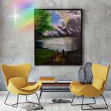 Large Mountain Waterscape Painting