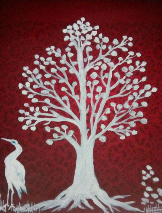 Painting of a tree and a bird - Vishwa Mohan dubey