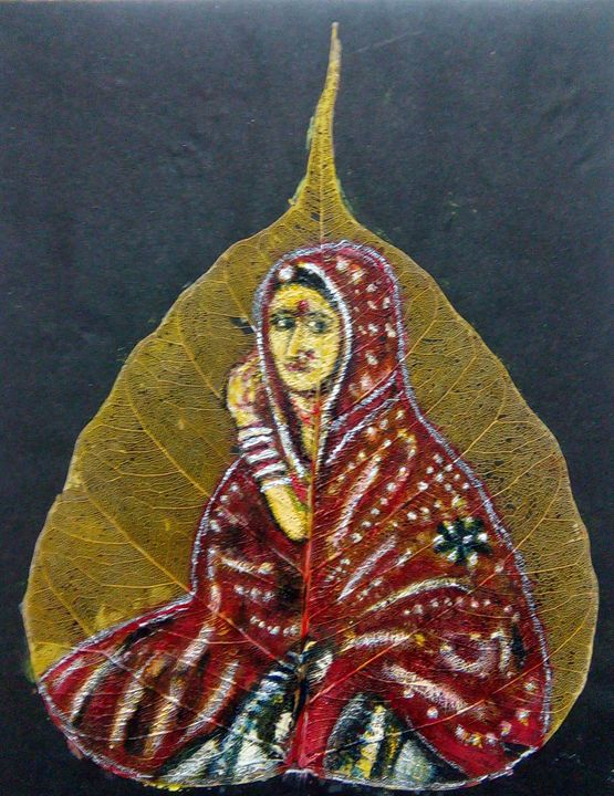 Rajasthani Women on  a leaf - Vishwa Mohan dubey