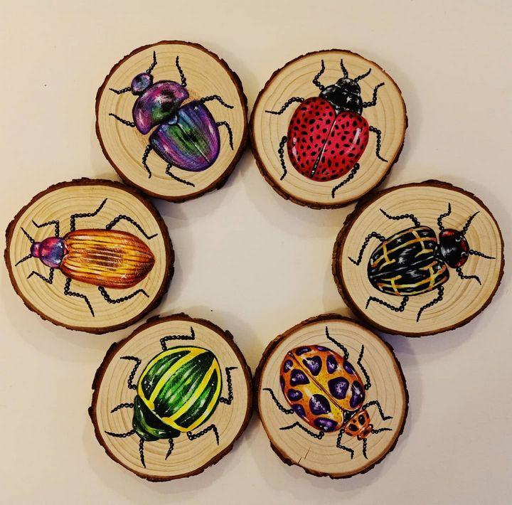 """Beetles"" Coasters - Art by Rishika"