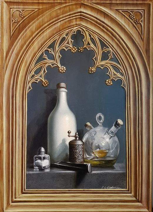 Still life with painted frame - Sabin & Catalina Art