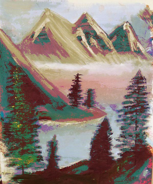 Bob Ross Inspired digitalscape - Desert Trail Canvas