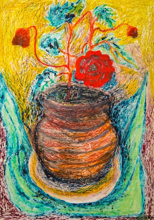 Flowers in Pot - Traditional Art