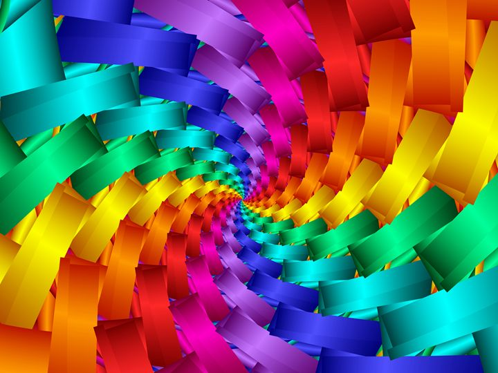 Psychedelic Abstract Rainbow Spiral - Kitty Bitty