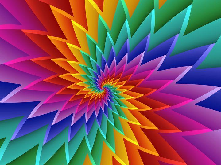 Psychedlic Rainbow Spiral - Kitty Bitty