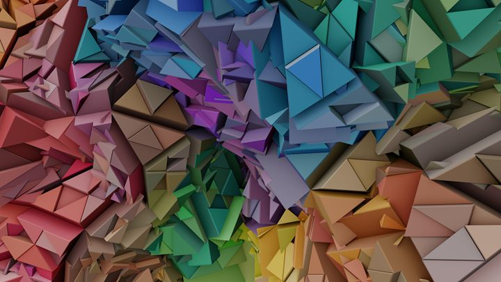 Colorful 3D Abstract Low Poly - Kitty Bitty