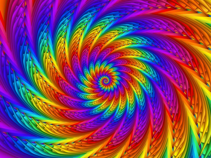 Psychedelic Rainbow Spiral - Kitty Bitty
