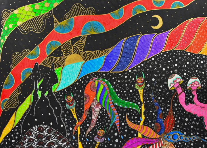 Pink Mushrooms under the Rainbow - Nina Pietsch