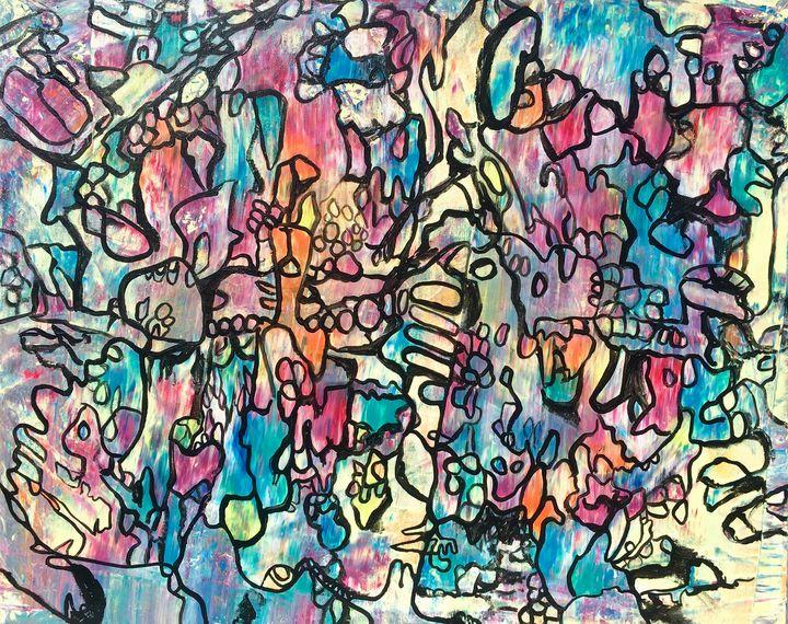 FOX. aurora borealis colorful doodle - VeeraZukova