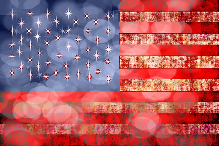 Vintage American Flag in Bokeh light - Artofmine
