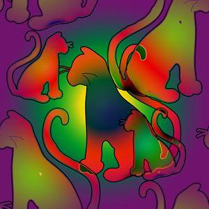 Purple Rainbow Cats Pattern