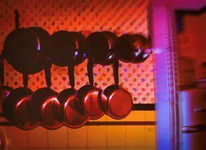 Vintage Kitchen With Copper Pots