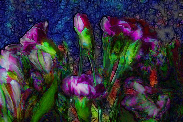 Abstract Pink Carnation Stems - Artofmine