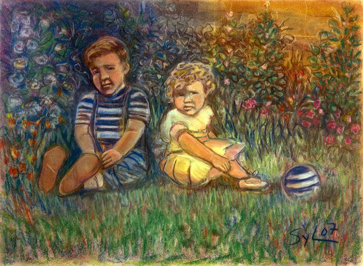 Children In Garden - Sylviasartworks