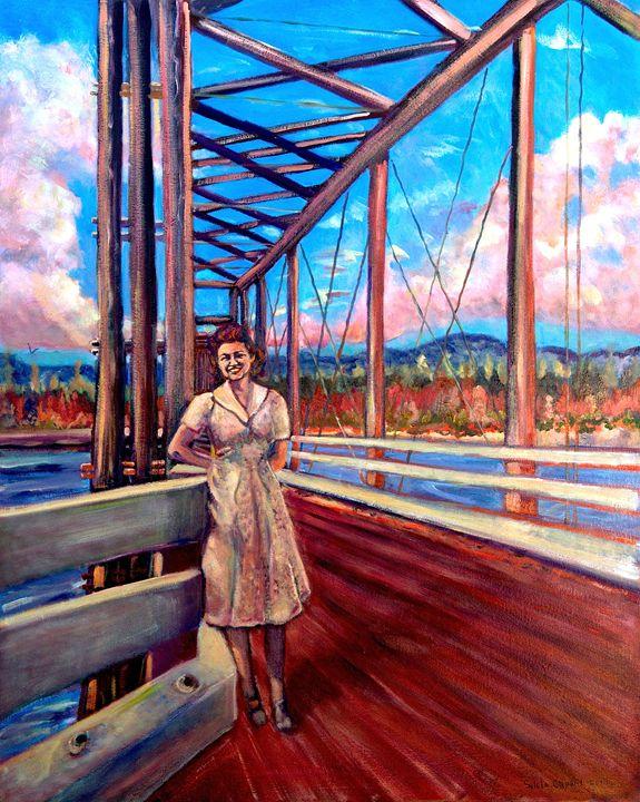 Lady on Old Wooden Bridge - Sylviasartworks