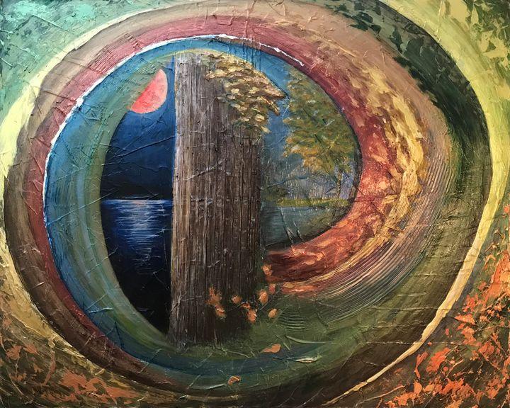 Autumn Awakens Harvest Moon - KJ Burk Fine Art