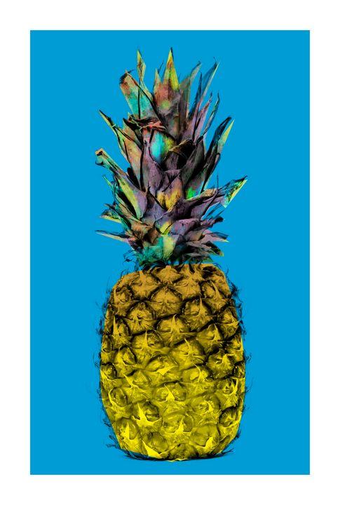 Funky Pineapple on Blue - jamesdenniston