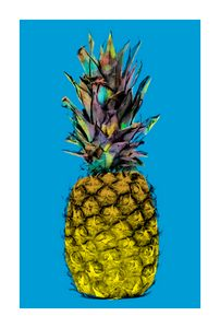 Funky Pineapple on Blue