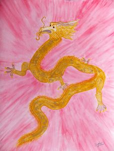 Golden Chinese Dragon Watercolor