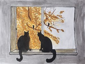 Cats watching the birds