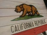 Rustic Anique Wooden California Flag