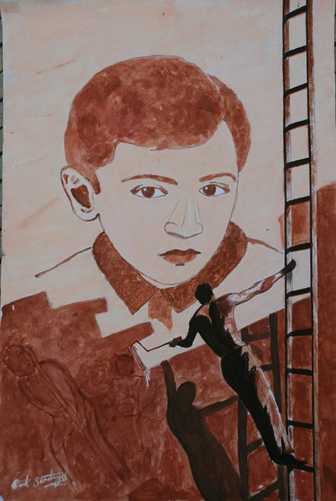 Portrait by a wall painter - Vivek Sorathiya