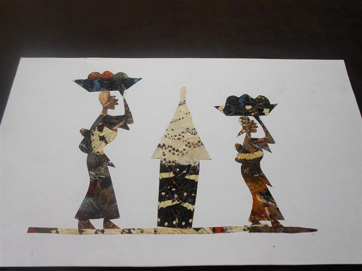 Two African Women and hut - Djibi Jabber Butterfly Art