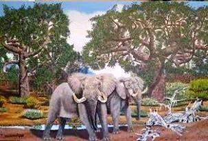 Elephants At Waterhole - Wild At Art