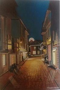Moonlit Street in Italy