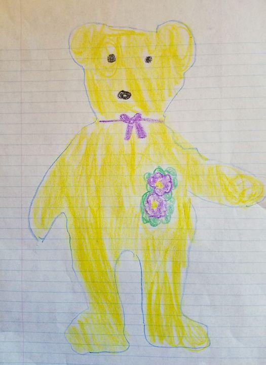Yellow Teddy - Art By Layla