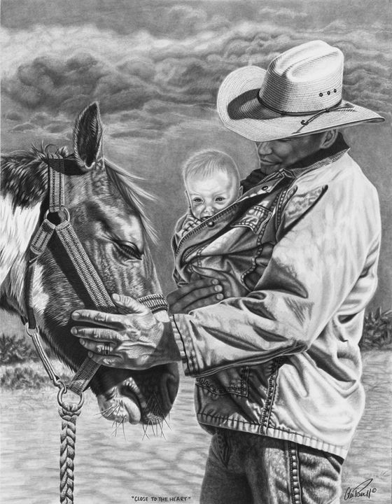 Close To The Heart - Glen Powell Fine Art Pencil Drawings