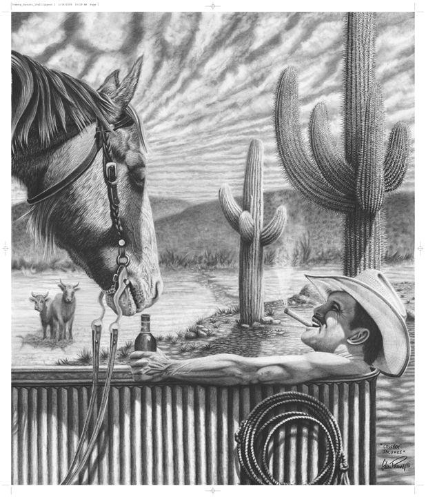 Cowboy Jacuzzi - Glen Powell Fine Art Pencil Drawings