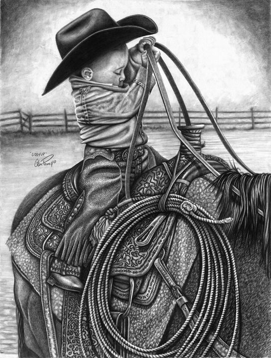 Giddy Up - Glen Powell Fine Art Pencil Drawings