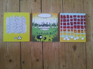 Three quirky small square canvases