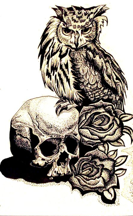Owl and died roses - Elitha