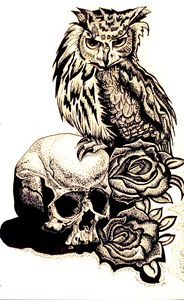 Owl and died roses
