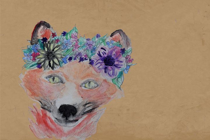 Flower Crown Fox - TeaTimeForMe