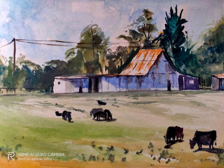 Landscape by  watercolor - Aman art