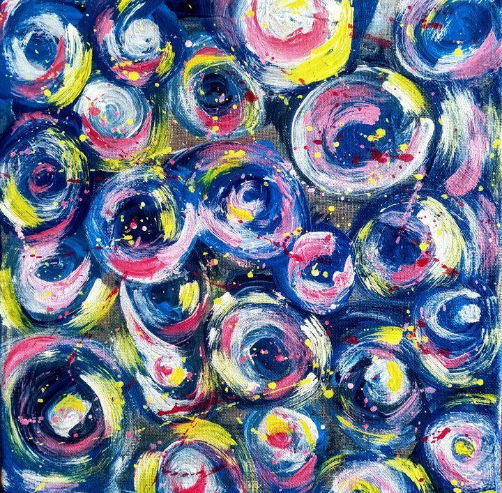 Fleurs d'étoiles, acrylique abstrait - Em'Art - Emmanuelle Baudry
