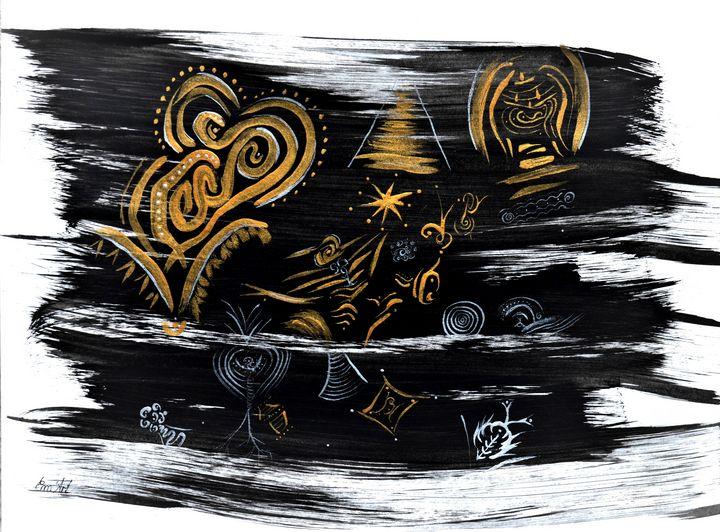Tribal Instinct, acrylic painting by - Em'Art - Emmanuelle Baudry