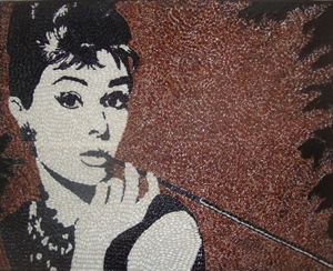 Audrey Hepburn rice on canvas