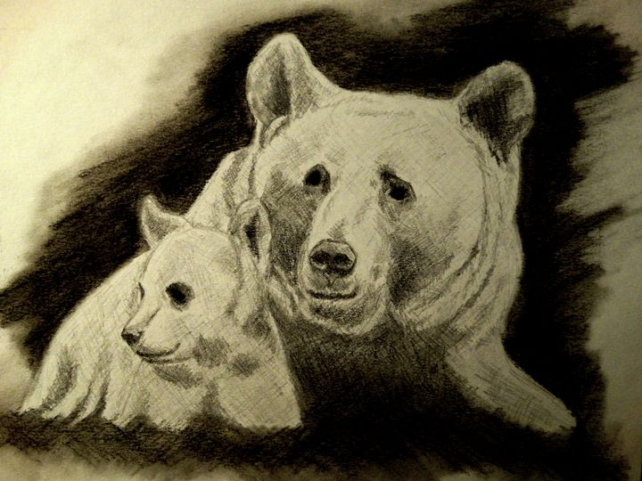 Bear with her cub - Wildlife on Paper
