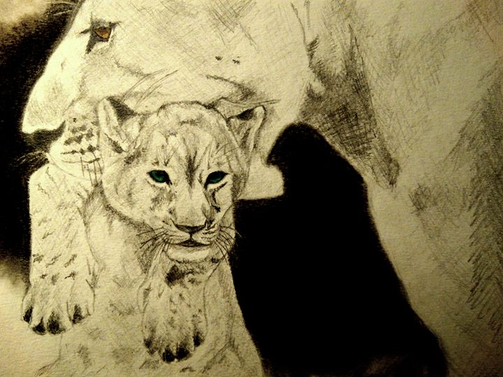 Lioness with her cub - Wildlife on Paper