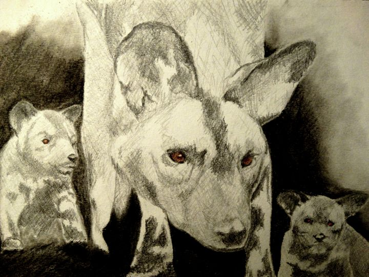 Wild dog with her puppies - Wildlife on Paper