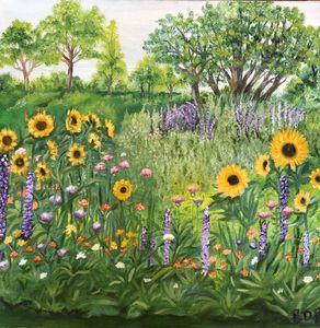 Sunflowers and Lilacs